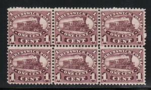 New Brunswick #6 Mint Fine - Very Fine Block Of Six