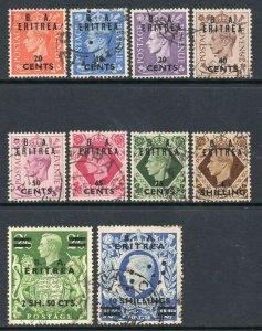 British Occ Italian Cols - BA Eritrea 1950 KGVI p/set (10v.) used - 10/- PERFIN