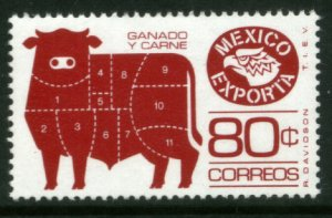 MEXICO Exporta 1113, 80¢ Cattle Meat Fluor Paper 6. MINT, NH. F-VF. MINT NH. VF