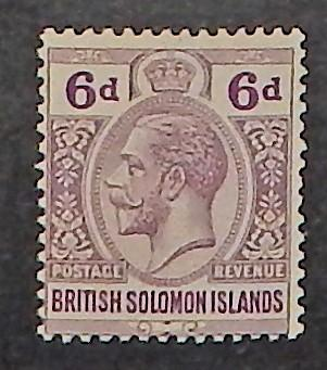 Solomon Islands 51. 1922 6p Dull violet & red violet KGV