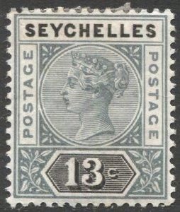 SEYCHELLES 1890 Sc 9  13c  QV  Die II F-VF Mint HR