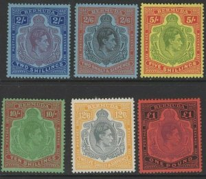 BERMUDA SG116e/21d 1950 PERF 13 HIGH VALUES MTD MINT