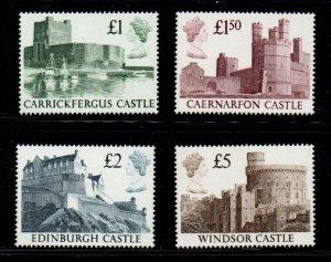 Great Britain Sc 1230-33 1988 Castles High Value stamp set mint NH
