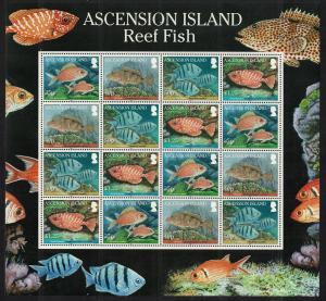 Ascension Reef Fish 1st series 4v Sheetlet SG#1064-1067