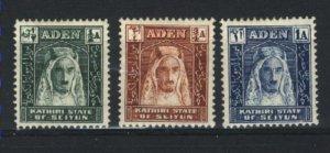 Aden Kathirin State of Seiyun 1-3   Mint VF 1942 PD