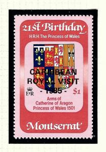 Montserrat 574 MNH 1985 issue overprinted for Royal Visit