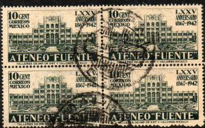 MEXICO 780, 10c Ateneo Fuente. Block of four. Used. (76)