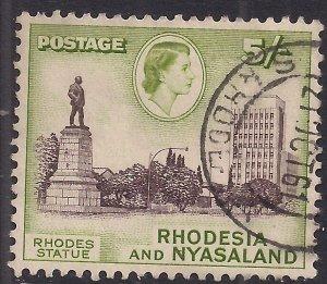 Rhodesia & Nyasaland 1959 - 62 QE2 5/-d Rhodes Statue used SG 29 ( E1451 )