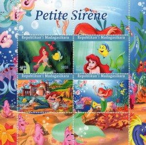 Malagasy Republic 2021 THE LITTLE MERMAID - DISNEY CHARACTERS Sheetlet (4) MNH