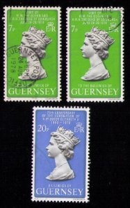 Guernsey Sc 163-164x2 Used QE II Litho/Portrait 3 Stamps Total VF