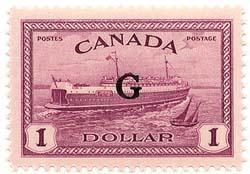 Canada - #O25 Mint Scarce 1950 $1 Ferry Ovpt. G  VF-NH