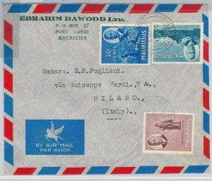 59534 -   MAURITIUS -  POSTAL HISTORY:  COVER to ITALY  1952