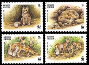 Kyrgyzstan WWF Corsac Fox 4v SG#167-170 MI#168-171 SC#122 a-d CV£7.9