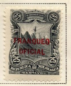Nicaragua 1893 Early Issue Fine Mint Hinged 25c. Official Optd 323721