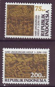 J25055 JLstamps 1981 indonesia set mnh #1126-7 buddist