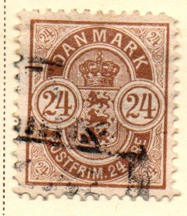 Denmark Sc 49 1901 24 ore brown Coat of Arms stamp used