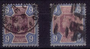 Great Britain Scott #120 (x 2-Shades),(Sg 209)Used Dull & Dark Purple & Blue VF