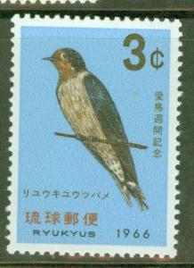 RYUKYU Scott 143 MNH** Bird week Swallow stamp 1965