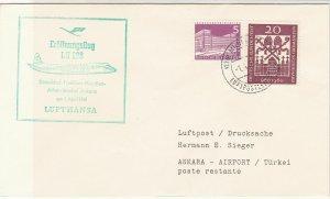 Germany 1961 Maiden Flight Lufthansa Dusseldorf-Ankara  Stamps Cover Ref 27980