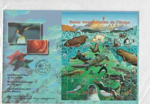 United Nations 1998 Int Year of the Ocean Large FDC Stamps Sheet Cover R 18826