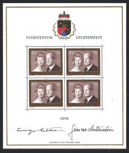 Liechtenstein. 1974. Small sheet 614. Prince of Liechtenstein. MNH.