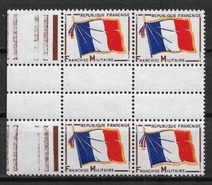 1964 France M12 Franchise Militaire gutter block of 4 MNH