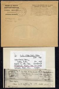 Marshall Islands 1944 V-Mail complete with envelope to Ne...