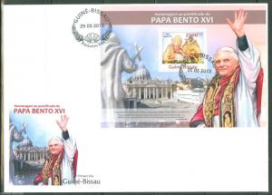 GUINEA BISSAU  2013 HOMMAGE TO POPE BENEDICT XVI  SOUVENIR SHEET FIRST DAY COVER