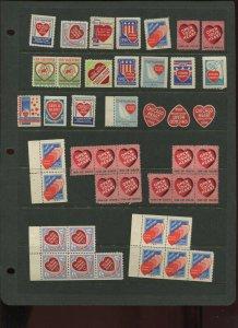 40+ VINTAGE CHICAGO ILLINOIS HEART ASSOCIATION HEALTH POSTER STAMPS (L1219)