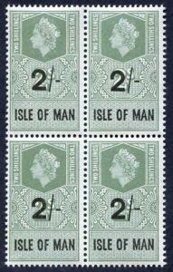 Isle of Man 1961 QEII 2/- on 2/- Revenue Stamp U/M Block of Four