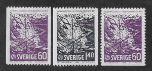 SWEDEN SC# 680-82  FVF/MOG 1965