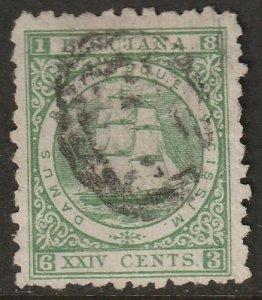 British Guiana 1866 Sc 68 used yellow green
