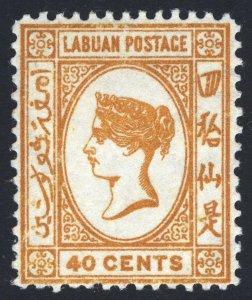 Labuan 1883 40c Amber WMK Crown CA SG 21 Scott 24 LMM/MLH Cat £25($31)