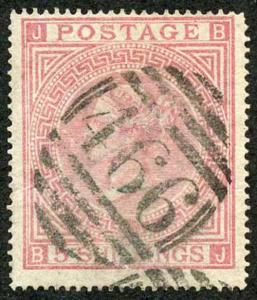SG126 5/- Rose Plate 1 Cat 675 pounds Fine used
