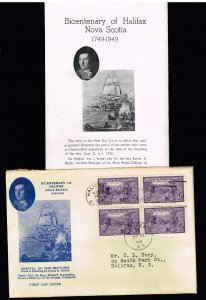 CANADA STAMP 1949 The 200th Anniversary of the Founding of Halifax FDC