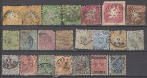 COLLECTION LOT OF #1133  GERMAN STATES WURTTEMBERG 22 STAMPS 1857+ CV + $350