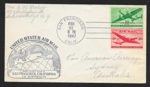 UNITED STATES First Flight Cover 1947 San Francisco to Sydney Australia