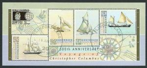 AUSTRALIA 1992 Columbus min sheet opt COLUMBIAN STAMP EXPO used............40950