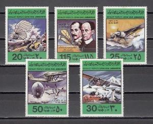 Libya, Scott cat. 769-773. Anniv. of Flight. Lindburgh & Wright Brothers. ^