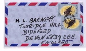 ST LUCIA Vieux Fort GB Devon Airmail Cover 1979 XX186