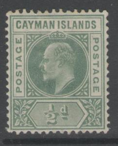 CAYMAN ISLANDS SG8a 1905 ½d GREEN DENTED FRAME MTD MINT