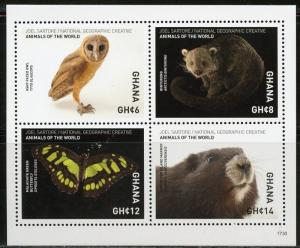 GHANA  2018 NATIONAL GEOGRAPHIC SHEET OF FOUR  MINT NEVER HINGED