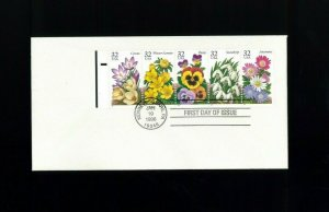 1996 Kennett Square Pennsylvania Winter Flowers Booklet Pane First Day Cover