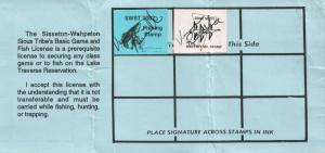 2002 USA Stamp #LT100 Sisseton-Wahpeton Sioux Tribe Game & Fish Hunting License