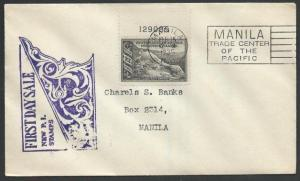 PHILIPPINES 1935 12c Salt Spring PLATE # single on FDC.....................11682