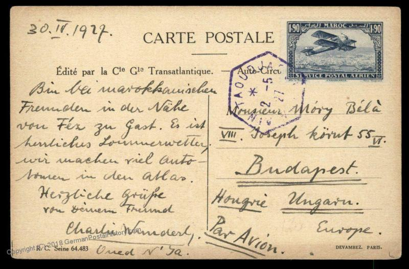 Morocco 1927 AID TAOUJDATE 1Fr90c Airmail Cover Budapest Hungary 88890