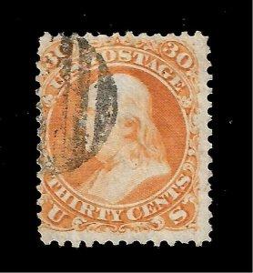 US 1861-62  Sc# 71 30 c FRANKLIN  USED - Light Cancel - Crisp Color