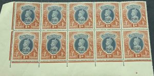 A) 1937, INDIA, KING JORGE VI, OVERPRINT PATIALA, RED BROWN, DARK GRAY, MNH, BLO
