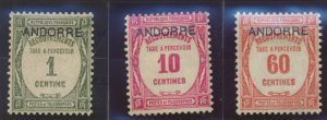 Andorra (French Administration) Stamps Scott #J9 To J11, Mint Hinged, Short S...