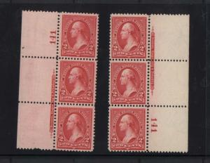 USA #248 VF/NH Left & Right Plate Strips